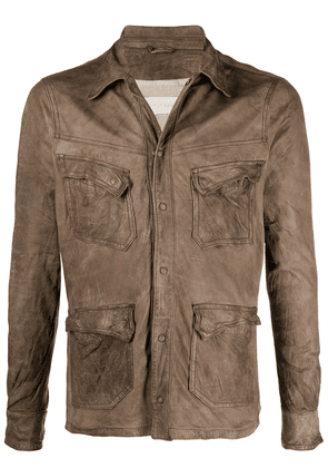 Giorgio Brato brushed leather jacket - Brown