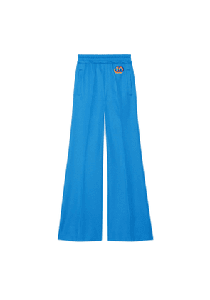 Technical jersey flare trousers