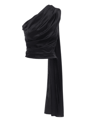 Draped One-shoulder Silk Satin Top