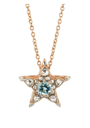 Selim Mouzannar - Istanbul Diamond, Aquamarine & 18kt Gold Necklace - Womens - Pink Gold