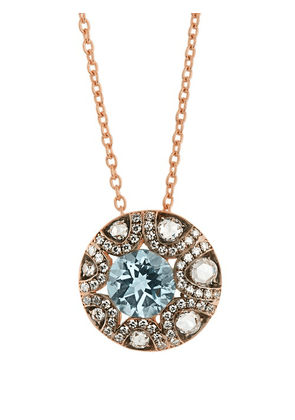 Selim Mouzannar - Diamond, Aquamarine & 18kt Gold Necklace - Womens - Pink Gold