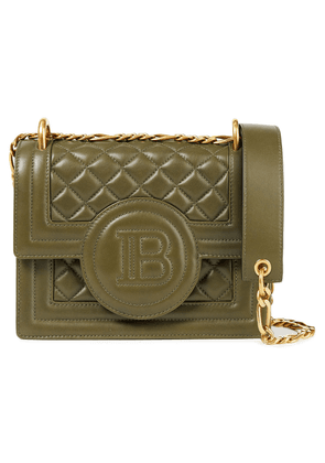 Balmain Quilted Leather Shoulder Bag Woman Army green Size --