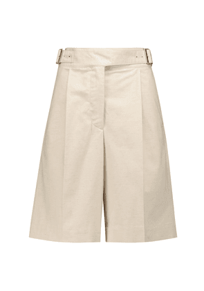 Cotton and linen canvas shorts