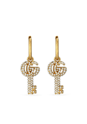 Gucci Double G crystal-embellished key earrings - Gold