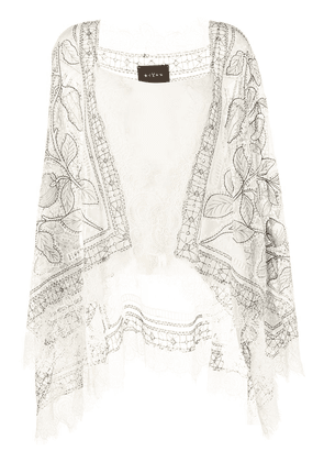 Biyan foral lace panel poncho - White