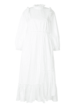 Biyan ruffle shoulder dress - White