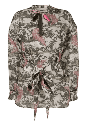 Bazar Deluxe nature-inspired print long-sleeve blouse - Neutrals