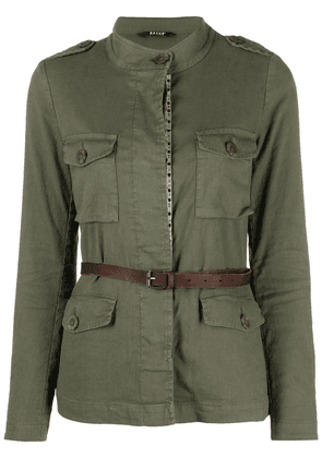 Bazar Deluxe belted linen-blend jacket - Green