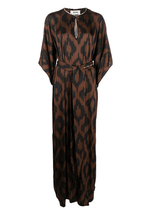 Bazar Deluxe belted graphic-print maxi dress - Brown