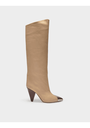 Lelize Boots in Beige Leather