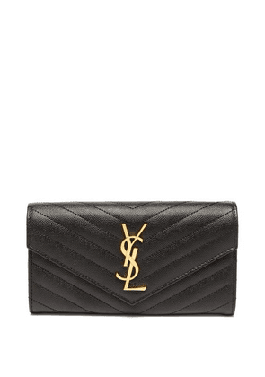 Saint Laurent - Ysl-logo Quilted-leather Continental Wallet - Womens - Black
