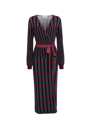 Tracy ribbed-knit wrap midi dress