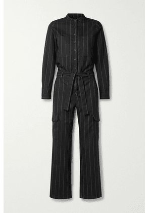 The Range - Zoot Belted Pinstriped Crepe Jumpsuit - Black