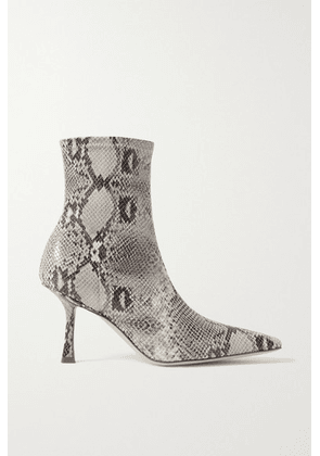 A.W.A.K.E. MODE - Agnes Coated Snake-effect Faux Suede Ankle Boots - Snake print