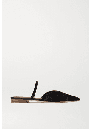Malone Souliers - Marla Leather-trimmed Corded Lace Point-toe Flats - Black