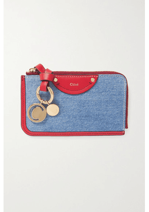 Chloé - Alphabet Leather And Denim Wallet - Blue