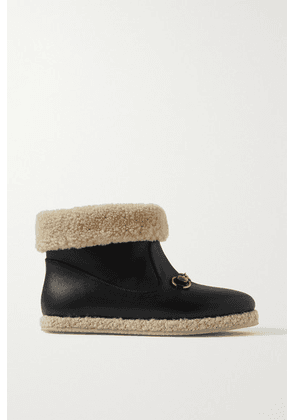 Gucci - Fria Horsebit-detailed Faux Shearling-trimmed Leather Ankle Boots - Black