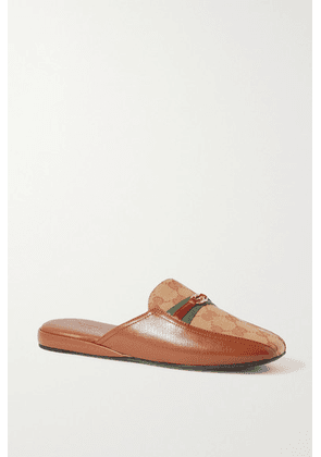 Gucci - Pericle Logo-detailed Leather And Canvas Slippers - Tan