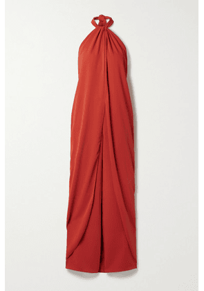 Johanna Ortiz - + Net Sustain The Heart Of The Andes Draped Satin Halterneck Jumpsuit - Tomato red