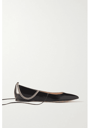 Gianvito Rossi - Chain-embellished Leather Point-toe Flats - Black
