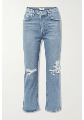 AGOLDE - + Net Sustain Wilder Organic Distressed High-rise Straight-leg Jeans - Mid denim