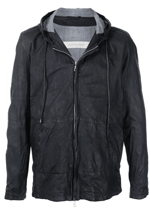 Giorgio Brato zip-up hooded leather jacket - Blue