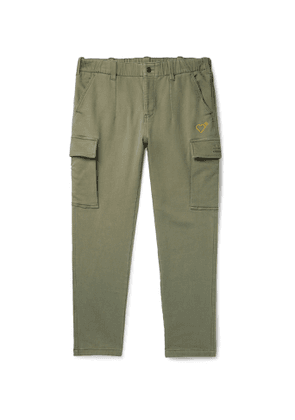 ADIDAS CONSORTIUM - Human Made Slim-Fit Tapered Logo-Embroidered Cotton-Blend Jersey Cargo Trousers - Men - Green - XS
