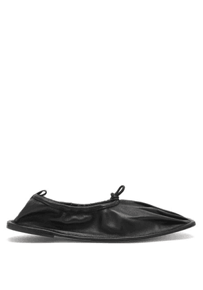 Hereu - Puntera Gathered Square-toe Leather Flats - Womens - Black