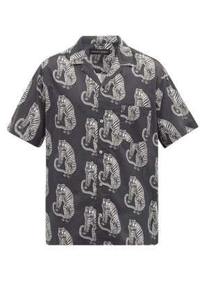 Desmond & Dempsey - Sansindo Tiger-print Cotton Pyjama Shirt - Mens - Black Multi
