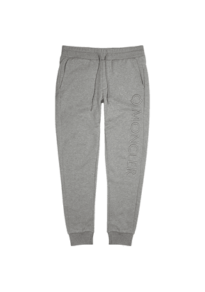 Moncler Grey Logo-embroidered Cotton Sweatpants