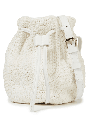 Iro Loster Leather-trimmed Crocheted Bucket Bag Woman White Size --
