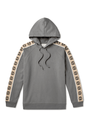 GUCCI - Oversized Webbing-Trimmed Loopback Cotton-Jersey Hoodie - Men - Gray - S