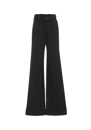 Belted high-rise jersey pants