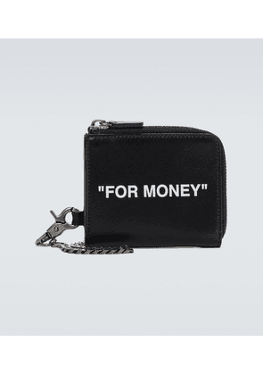Quote leather chain wallet