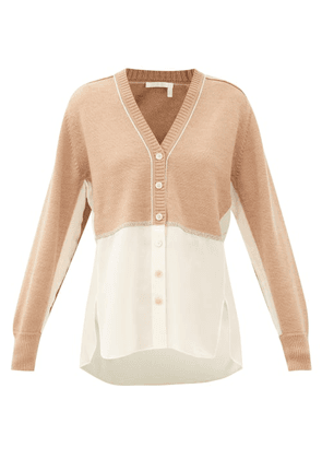Chloé - Silk-georgette And Knitted Wool Cardigan - Womens - Light Brown