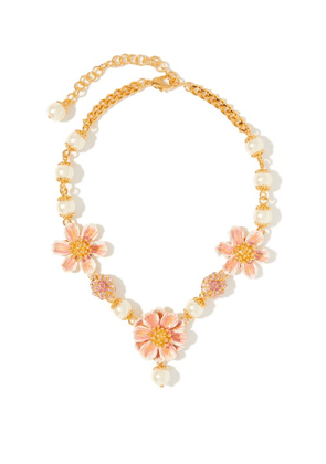 Dolce & Gabbana - Enamel-flower And Faux-pearl Necklace - Womens - Gold