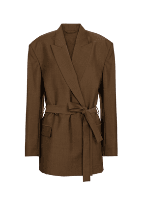 Belted wool and mohair blazer