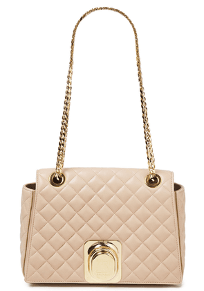 Balmain Quilted Leather Shoulder Bag Woman Beige Size --