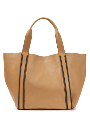 Brunello Cucinelli Bead-embellished Leather Tote Woman Camel Size --