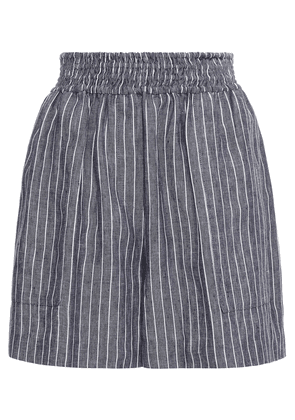 Brunello Cucinelli Pinstriped Linen Shorts Woman Navy Size 38