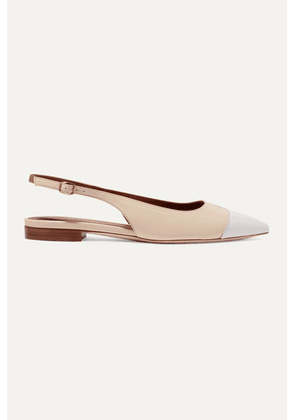 Malone Souliers - Bianca Color-block Leather Slingback Point-toe Flats - White