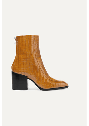 aeyde - Lidia Glossed Croc-effect Leather Ankle Boots - Mustard