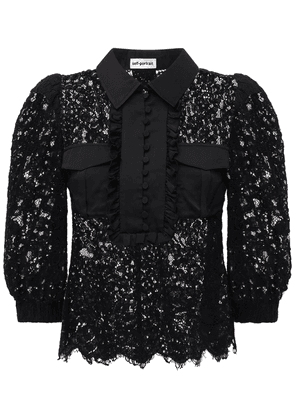 Embroidered Cord Lace Button Placket Top
