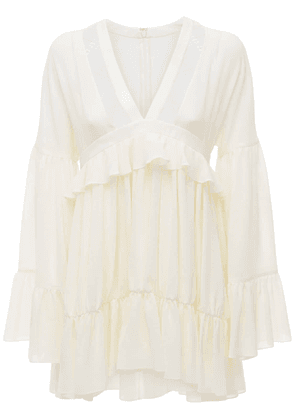 Ruffled Silk Crepe Mini Dress
