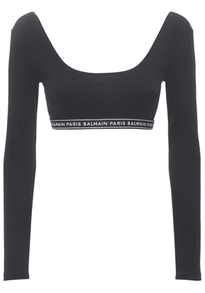 Logo Cotton Jersey Stretch Cropped Top