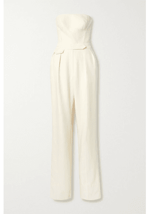 Brandon Maxwell - Strapless Wool And Silk-blend Twill Jumpsuit - Ivory