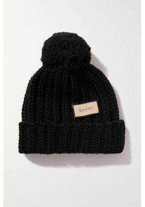 Gucci - Pompom-embellished Ribbed Wool Beanie - Black