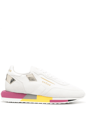 Ghoud colour-block lace-up trainers - White