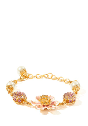Dolce & Gabbana - Crystal And Faux-pearl Embellished Metal Bracelet - Womens - Gold