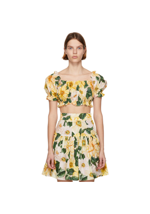 Dolce and Gabbana Yellow Camellia Print Crop Blouse